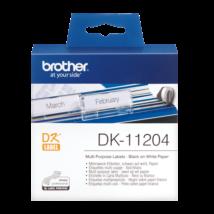 BROTHER Etikett címke DK-11204, Általános etikett címke, Elővágott (stancolt), Fehér alapon fekete, 400 db