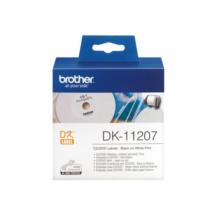 BROTHER Etikett címke DK-11207, CD/DVD címke, Elővágott (stancolt), Filmrétegű címke, Fehér alapon fekete, 100 db