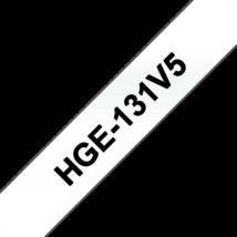 """BROTHER Festékszalag HGe-131, Átlátszó alapon Fekete, Nagy sebességű, 12mm  0.47"""", 8 méter, 5db/csomag"""