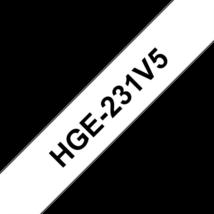 """BROTHER Festékszalag HGe-231, Fehér alapon Fekete, Nagy sebességű, 12mm  0.47"""", 8 méter, 5db/csomag"""