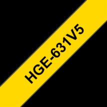 """BROTHER Festékszalag HGe-631, Sárga alapon Fekete, Nagy sebességű, 12mm  0.47"""", 8 méter, 5db/csomag"""