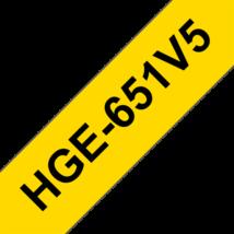 """BROTHER Festékszalag HGe-651, Sárga alapon Fekete, Nagy sebességű, 24mm  0.94"""", 8 méter, 5db/csomag"""