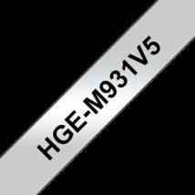 """BROTHER Festékszalag HGe-M931, Matt ezüst alapon Fekete, Nagy sebességű, 12mm  0.47"""", 8 méter, 5db/csomag"""